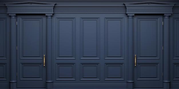 Ilustração 3d. parede clássica de portas em painéis de madeira escura. marcenaria no interior. fundo.