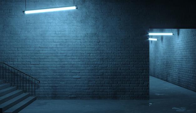 Ilustração 3d. parede de tijolos de uma fachada de rua à noite. entrada da sala. portal velho e sujo. luminária. papel de parede de banner de fundo