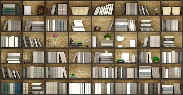 Ilustração 3d parede fundo de madeira biblioteca clássica