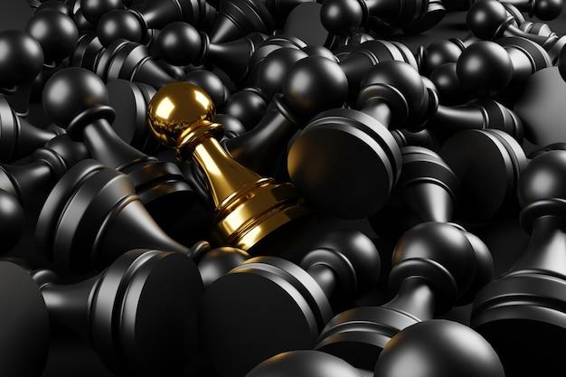 Ilustração 3d peão de ouro do xadrez individual e destacando-se da multidão