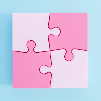 Ilustração 3d. peças do puzzle coloridas isoladas no fundo branco. renderização 3d