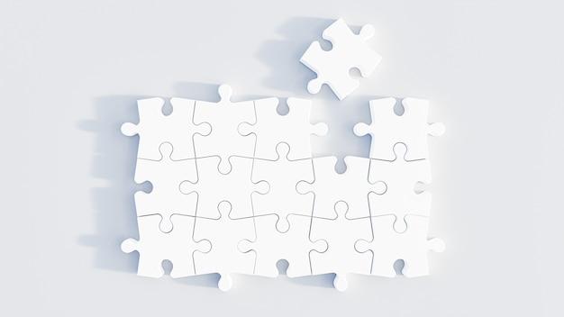 Ilustração 3d. peças do puzzle isoladas no fundo branco. renderização 3d