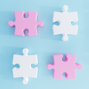 Ilustração 3d. peças rosa e brancas do puzzle isoladas sobre fundo azul. renderização 3d