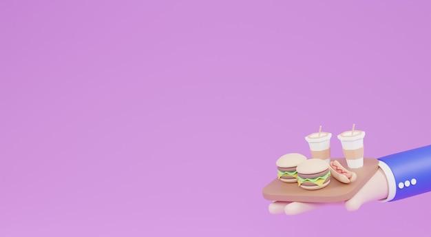 Ilustração 3d pequeno hambúrguer fast-food e cachorro-quente na mão dos desenhos animados.