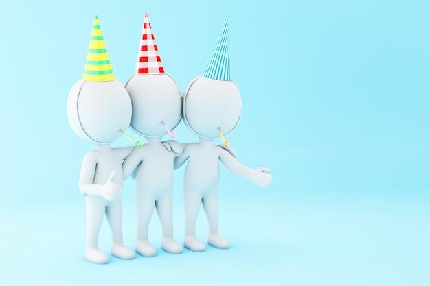 Ilustração 3d. pessoas brancas comemorando um aniversário com ventilador e chapéu.