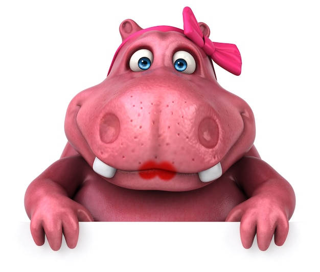 Ilustração 3d pink hippo