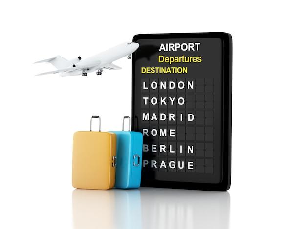 Ilustração 3d. placa de aeroporto, malas de viagem e avião. conceito de viagens.