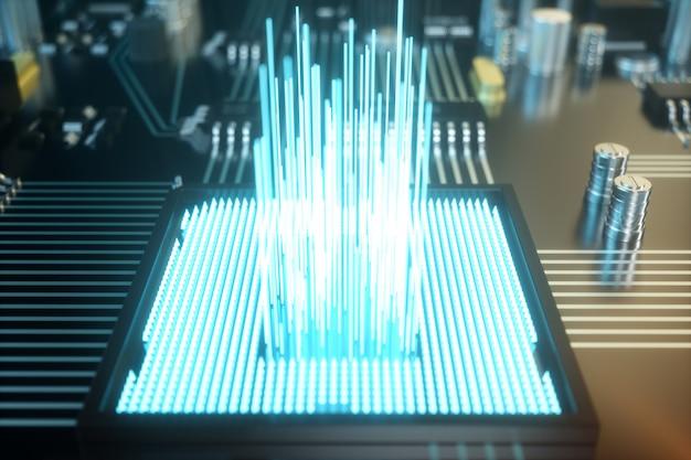 Ilustração 3d placa de circuito. fundo de tecnologia
