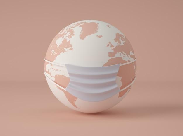 Ilustração 3d. planeta terra usando uma máscara protetora.