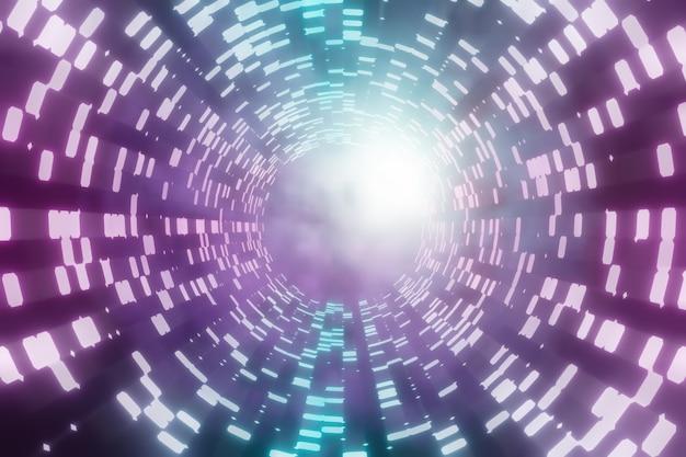 Ilustração 3d que renderiza o fundo abstrato. luz gráfica do círculo azul rosa com desfoque de zoom em fundo escuro.