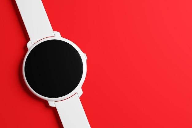 Ilustração 3d relógio de pulso branco com mostrador redondo preto sobre fundo vermelho isolado