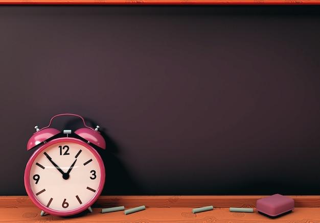 Ilustração 3d. relógio despertador com quadro-negro vazio. conceito de volta às aulas