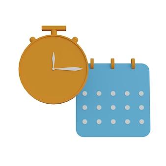 Ilustração 3d relógio e calendário