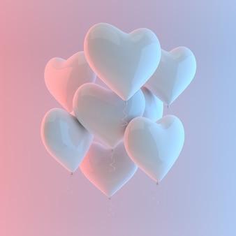 Ilustração 3d render do balão de coração brilhante branco realista sobre fundo branco, luz colorida