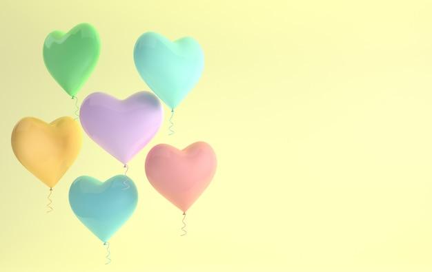 Ilustração 3d render do balão de coração brilhante
