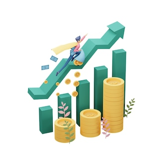 Ilustração 3d render do conceito de investimento empresarial