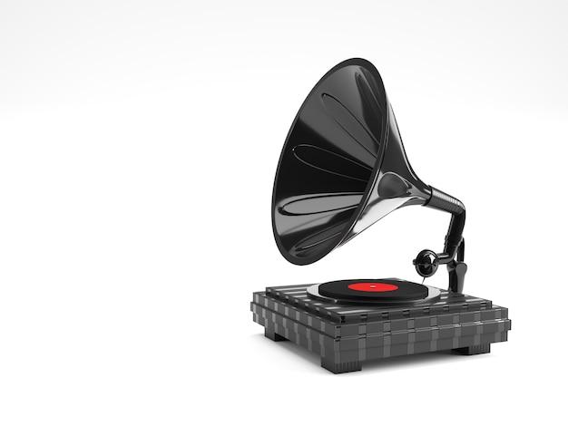 Ilustração 3d render do gramofone em cor de fundo