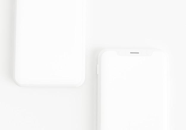 Ilustração 3d render mão segurando o smartphone branco com tela cheia e quadro moderno menos desi