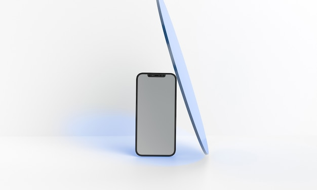 Ilustração 3d render mock up genérico e tablet em um design branco high key iphone ipad