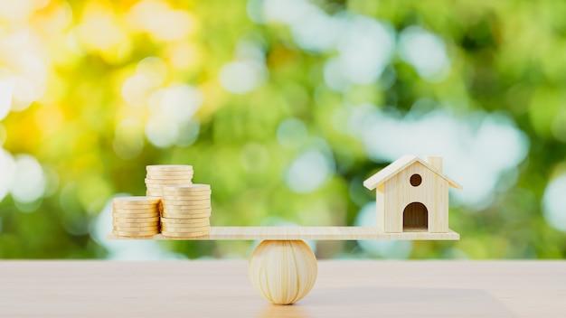 Ilustração 3d render. moedas da casa e do euro em um fundo natural.