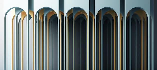 Ilustração 3d render no estilo geométrico moderno arco e escada