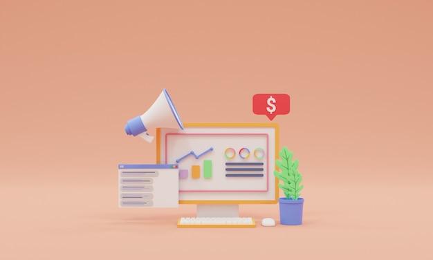 Ilustração 3d render seo otimização marketing