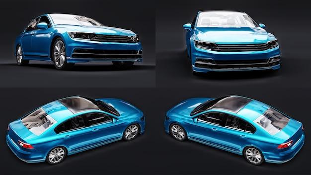 Ilustração 3d. renderização 3d de um carro azul genérico sem marca em um ambiente de estúdio preto.