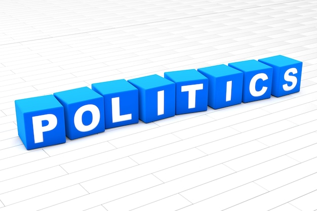 Ilustração 3d renderizada da palavra política
