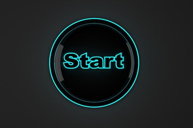 Ilustração 3d renderizada de um botão iniciar brilhante.