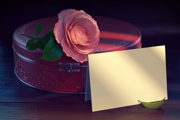 Ilustração 3d renderizada de uma caixa de presente com flor de flor
