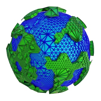 Ilustração 3d renderizada do planeta abstrato