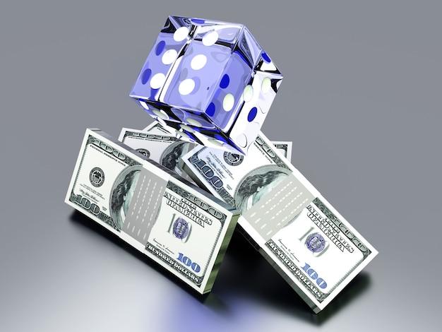 Ilustração 3d renderizada. isolado no branco. jogando por dinheiro.
