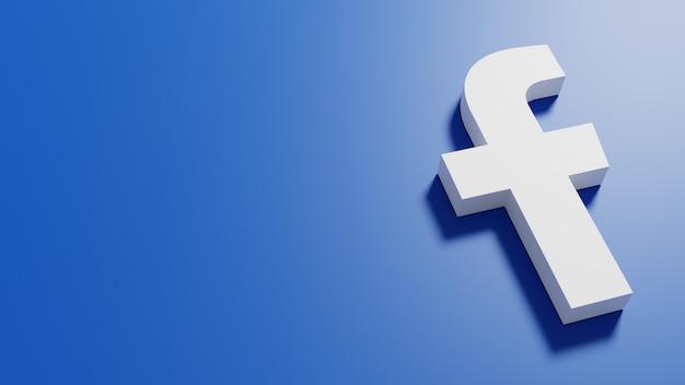 Ilustração 3d renderizando o logotipo do facebook em fundo de cor azul