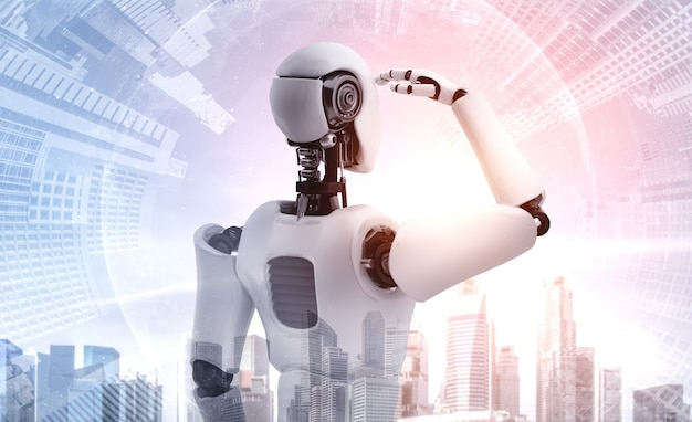 Ilustração 3d robô humanóide olhando para a frente no horizonte da cidade