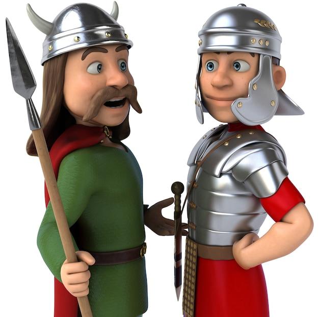 Ilustração 3d romana e gaulesa
