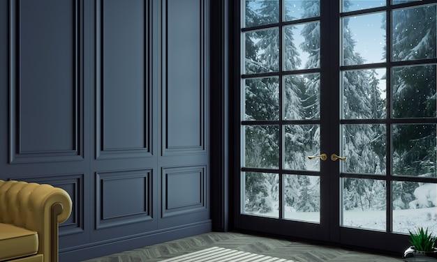 Ilustração 3d. sala de estar com painéis clássicos de madeira azul e janela no inverno