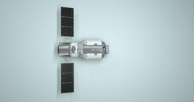 Ilustração 3d satélite terrestre, navegação gps. universo, via láctea, elementos de design isolados no fundo branco.