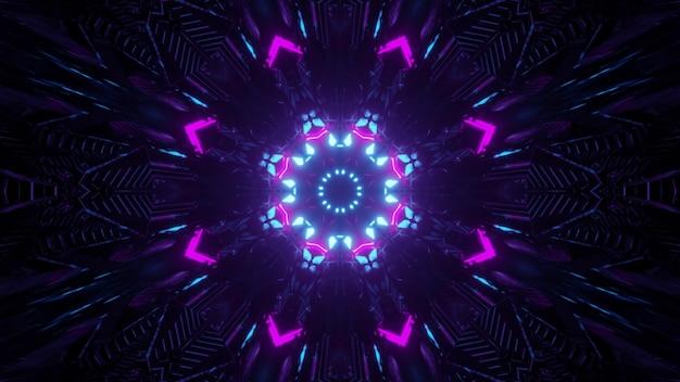 Ilustração 3d sci fi fundo abstrato com néon brilhante colorido padrão geométrico na escuridão com traços de luzes criando efeito de movimento