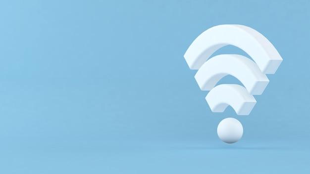 Ilustração 3d. símbolo de rede sem fio wifi branco em fundo isolado. conceito de rede e internet.