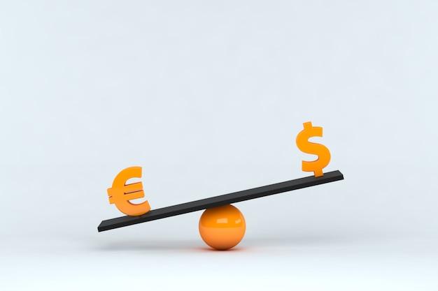 Ilustração 3d. símbolo do euro e do dólar em escala de equilíbrio em fundo isolado. comparação de moedas. conceito financeiro.