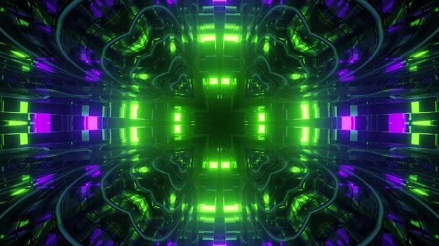 Ilustração 3d simétrica abstrata de células geométricas e curvas repetitivas em forma de fundo de luzes verdes e azuis brilhantes