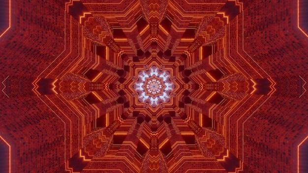Ilustração 3d simétrica de um túnel caleidoscópico de cor laranja com ornamento fractal abstrato