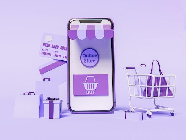Ilustração 3d. smartphone com carrinho de compras, cartão de crédito e bolsas. loja online e conceito de e-commerce.