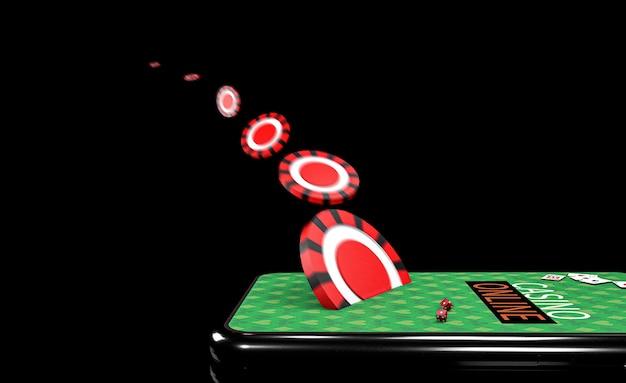Ilustração 3d. smartphone com chips. conceito de casino online. fundo preto isolado.