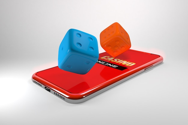 Ilustração 3d. smartphone com dados. conceito de casino online. fundo preto isolado.