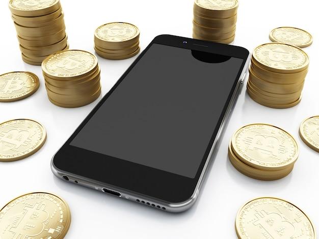 Ilustração 3d. smartphone com dinheiro bitcoin. conceito de criptomoeda.