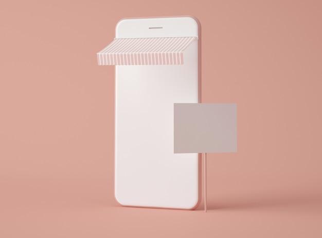 Ilustração 3d. smartphone com placa de sinal em branco.