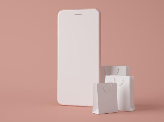 Ilustração 3d. smartphone com sacola de compras.