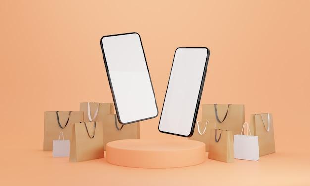 Ilustração 3d. smartphone com tela branca em branco e sacolas de compras. conceito de compras on-line e e-commerce.