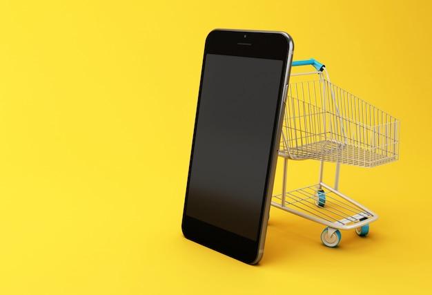 Ilustração 3d. smartphone e carrinho de compras